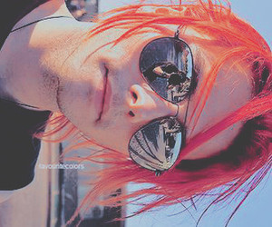 gerard way, glasses, and red hair image
