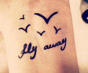 bird, tattoo, and fly image