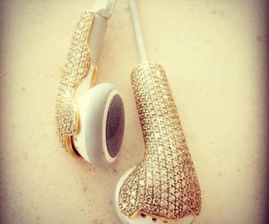 gold, music, and headphones image