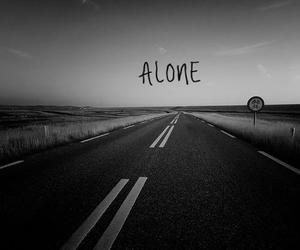 alone, black and white, and road image