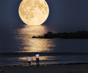 moon, night, and beach image