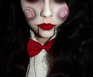 Halloween, mujer, and pigsaw image