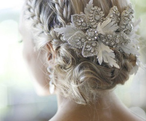 accessory, updo, and blonde image