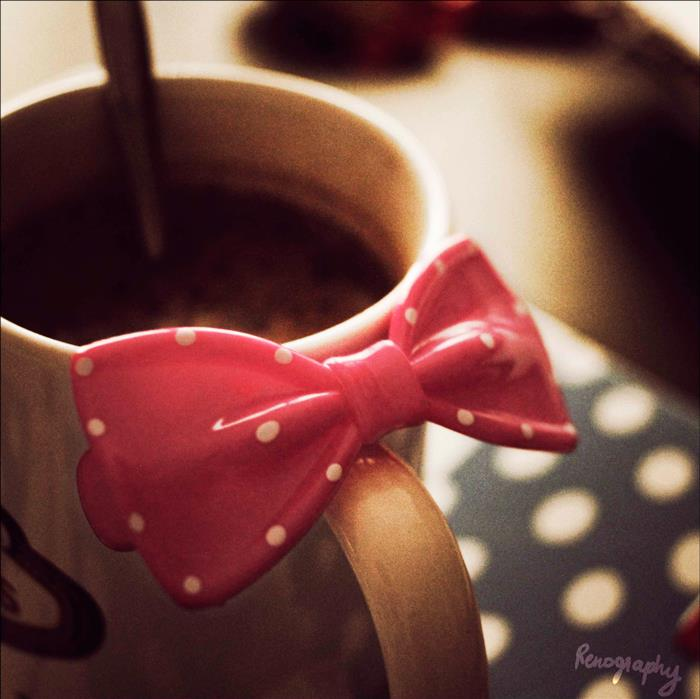 bow, cup, and coffee image