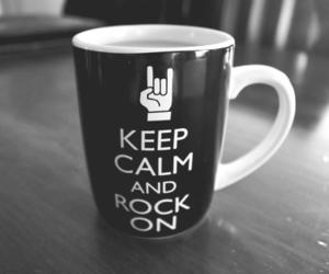 rock, keep calm, and black and white image