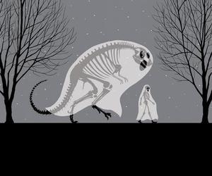 ghost, skeleton, and dinosaur image
