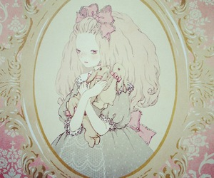 bunnies, doll, and pastel image
