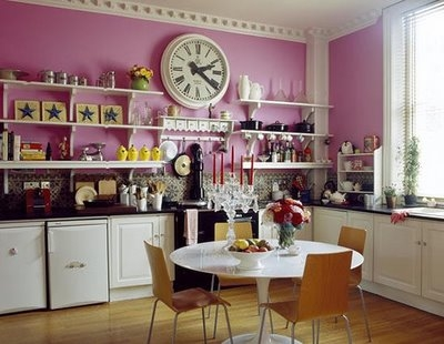 kitchens, pink, and colorful rooms image
