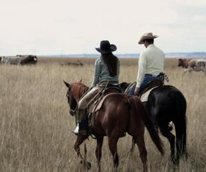 cowboy, Cowgirl, and horses image