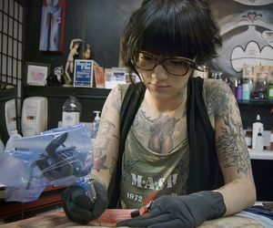 tattoo, artist, and glasses image