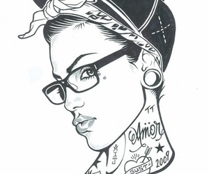 tattoo, girl, and drawing image