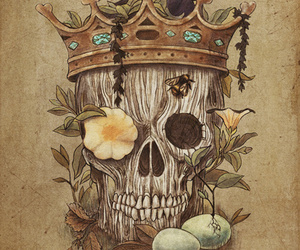 skull, art, and crown image