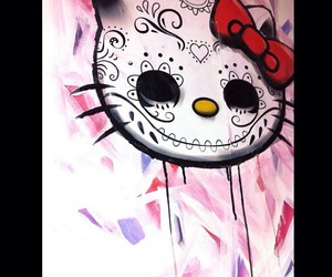art, candy skull, and hello kitty image