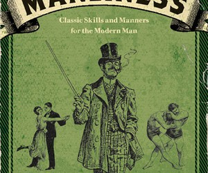 book cover, green, and man image