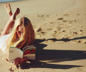 girl, beach, and book image