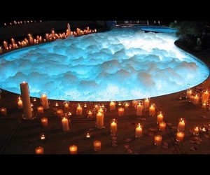 candle, night, and pool image