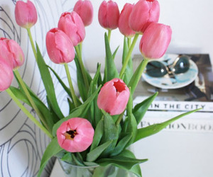 flowers, pink, and tulipans image