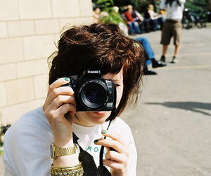 brown hair, camera, and girl image