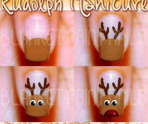 nails, christmas, and rudolph image