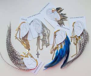 feather, earrings, and ear image