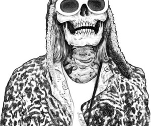 skull, kurt cobain, and nirvana image