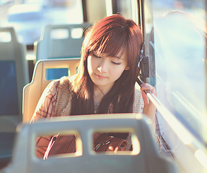 girl, asian, and bus image
