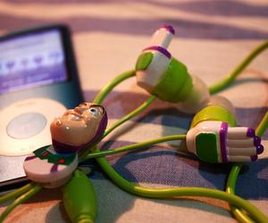 buzz lightyear, ipod, and earphone image
