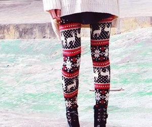 winter, leggings, and christmas image