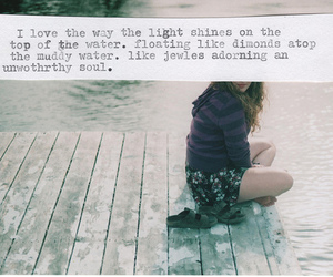 girl, light, and words image