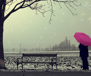 pink, umbrella, and snow image