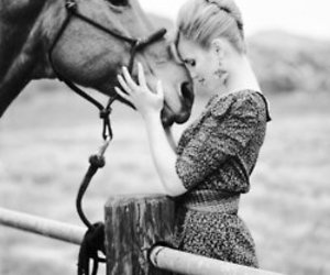 horse, dianna agron, and animal image