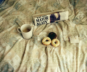 coffee, bed, and donuts image