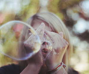 art, blonde, and bubble blower image