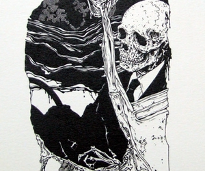 death, suit, and skeleton image