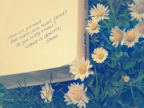 flowers, book, and quote image