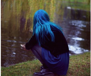 blue hair, blue, and hair image