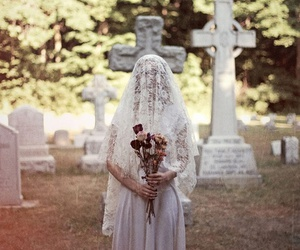 cemetery, girl, and bride image