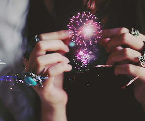 fireworks, girl, and light image