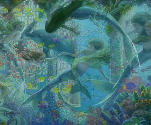 mermaid, dolphin, and fantasy image