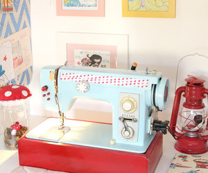 pastel, sewing machine, and cute image