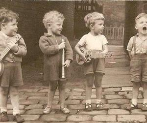 children, music, and old image