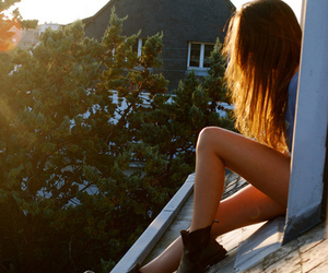 girl, roof, and sun image