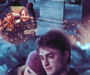 deathly hallows, hermione, and harry image