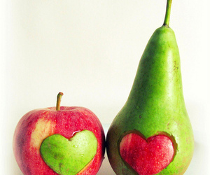 apple, fruit, and heart image