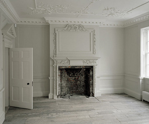 white, room, and fireplace image