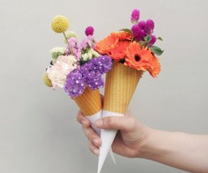 flowers, ice cream, and cone image