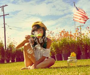 girl, bubbles, and usa image