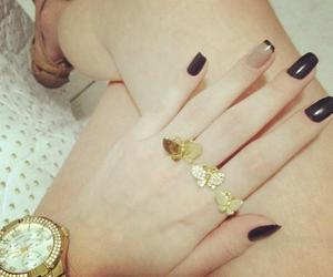 nails, girl, and butterfly image