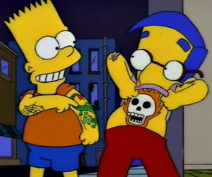 bart simpson, milhouse, and the simpsons image