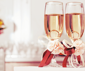 champagne, wedding, and drink image